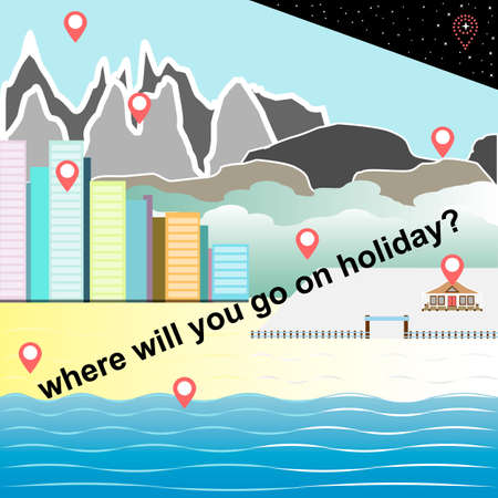 pins on the map with a choice of destinations to holiday
