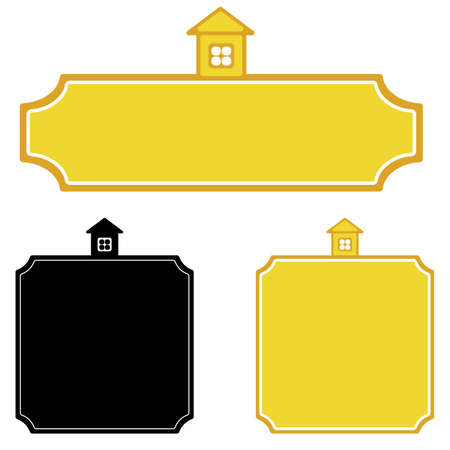 vector house on frame of signboard for a christmas cards background