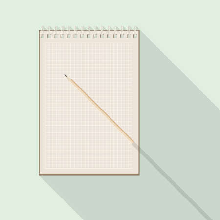 cellule: top view of flat vector pencil on blank kraft checkered paper notebook on background with long shadow effect