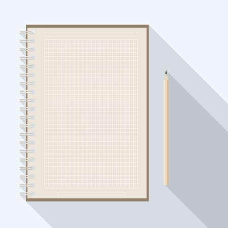 top view of flat vector design pencil near blank checkered kraft paper notebook on background with long shadow effect