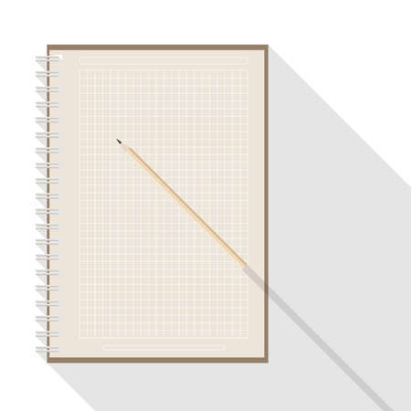 top view of flat vector design pencil on blank checkered kraft paper notebook on white background with long shadow effect