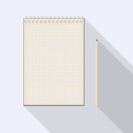 top view of flat vector design pencil near checkered blank kraft paper notebook on background with long shadow effect