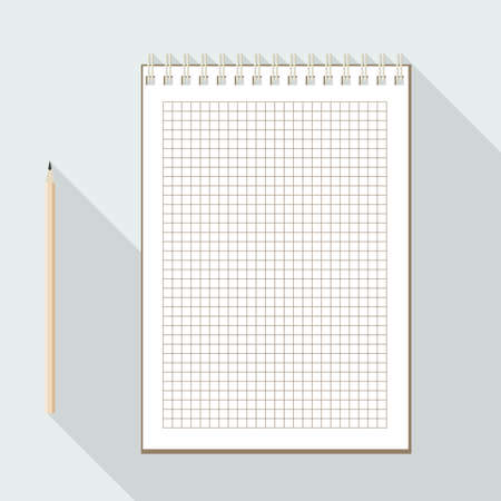 cellule: to left handed top view of flat vector pencil near notebook with blank checkered white sheet on background with long shadow effect Illustration