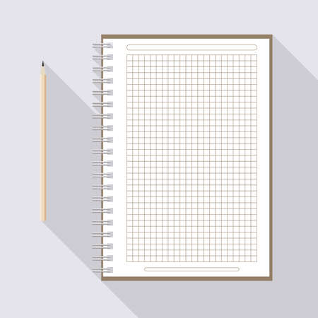 to left handed top view of flat vector pencil near notebook with blank checkered white sheet on background with long shadow effect Illustration