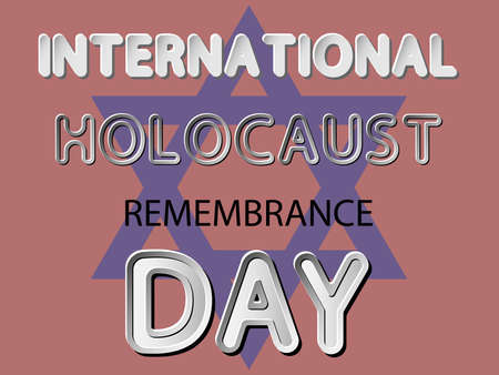 genocide: different vector lettering word of international holocaust remembrance day with white gray gradient and black shadows as paper or metallic effect on red retro colors background with davids star