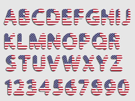 flat vector rounded American flag font alphabet letters and numerals with shadow and white glow like new paper effect design