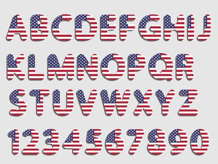 platte vector afgerond Amerikaanse vlag lettertype Alfabetletters en cijfers met schaduw en witte gloed als nieuw papier effect ontwerp
