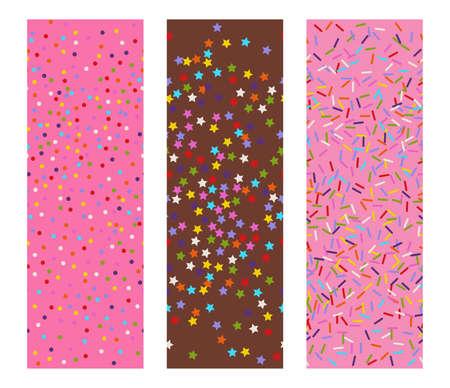 drie horizontale naadloze vlakke vectoren patronen van hagelslag sterren, stippen en lijnen als bakkerij snoep of feestelijke confettienachtergrond Stock Illustratie