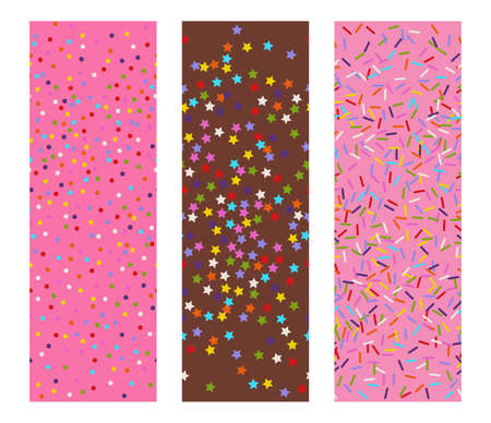 three horizontal seamless flat vectors patterns of sprinkles stars, dots and lines as bakery candy or festive confetti background Ilustração