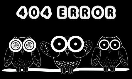 white flat vector lettering Error 404 and hand-drawing three owls on black night background