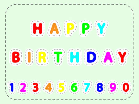Flat colorful vector lettering of happy Birthday and numerals in the frame of lines Illustration