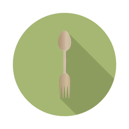 flat vector wooden spork icon with long shadow in to green round geometric shape as zero waste, bpa and plastic free concept Illustration