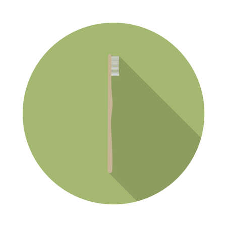 flat vector bamboo toothbrush icon with long shadow in to green round geometric shape as zero waste, bpa and plastic free concept Illustration