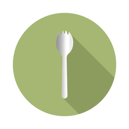 flat vector icon with long shadow in to green round geometric shape as zero waste, bpa and plastic free concept