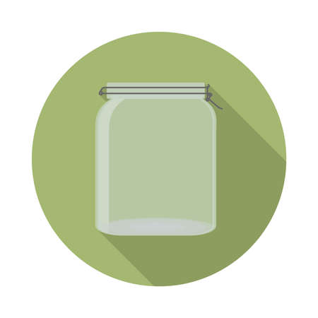phthalates: flat vector closed transparent glass jar with lid icon with long shadow in to green round geometric shape as zero waste, bpa and plastic free concept