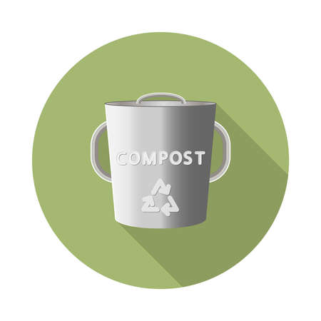 flat vector stainless steel composting bin icon with long shadow in to green round geometric shape as zero waste, bpa and plastic free concept