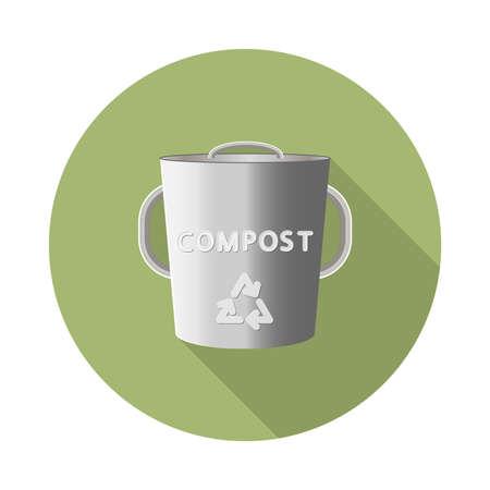 icône de bac de compostage vecteur plat en acier inoxydable avec ombre portée dans la forme géométrique ronde verte comme zéro déchet, bpa et concept libre en plastique