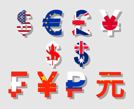 Flat vector with flag and shadow currency symbols icon set of USA, Canada, Australia, Britain, EU, Russia, China, Japan Illustration