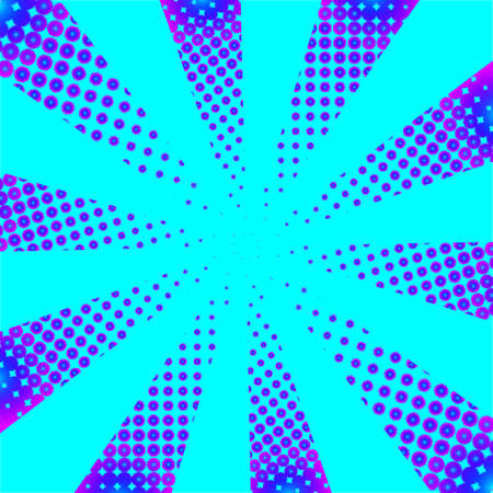 abstract vector illustration of geometric circle dotted spot gradient backdrop in neon halftone style pattern as cartoon retro pop-art superhero comic book background