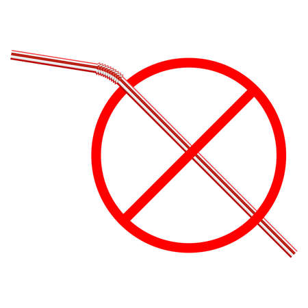 Vector illustration sign of the refusal of disposable plastic drinking straws isolated on white background