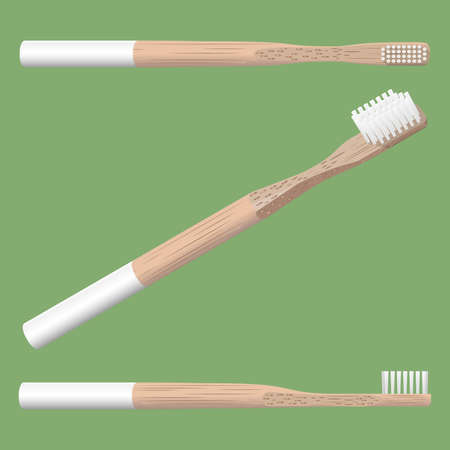 realistic 3d bamboo toothbrush isolated on green background, vector illustration