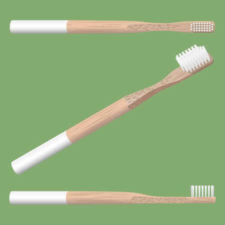 realistyczna szczoteczka bambusowa 3d na białym tle na zielonym tle, ilustracji wektorowych Ilustracje wektorowe