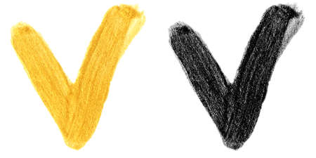 illustration set of hand drawn gold and black colors paint smear stain check mark isolated on white background