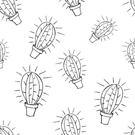 vector seamless pattern of cactus sketch drawn by black marker on white background