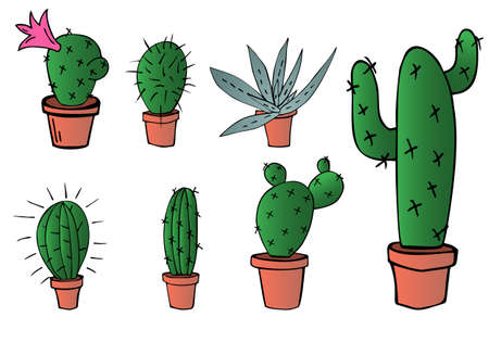 vector illustration set of home green cactus and aloe in brown clay pot in cartoon gradient colors