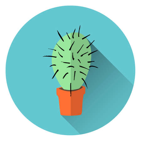 flat vector illustration of home green cactus in orange clay pot with long transparent shadow on azure background