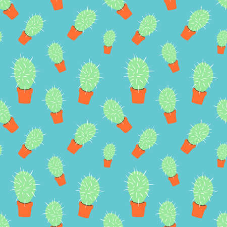 home blossom green cactus in orange pot in doodle style, flat cartoon colors, seamless pattern isolated on azure background, stock vector illustration