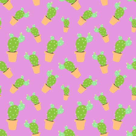 home blossom green cactus in brown pot in doodle style, flat cartoon colors, seamless pattern isolated on lilac background, stock vector illustration