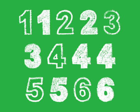 handwritten white chalk bold arabic numbers 1, 2, 3, 4, 5 6 on green background, hand-drawn chalk numerals, stock vector illustration