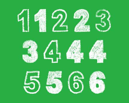 handwritten white chalk bold arabic numbers 1, 2, 3, 4, 5 6 on green background, hand-drawn chalk numerals, stock vector illustration