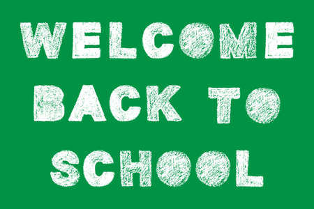 Handwritten white bold chalk lettering welcome back to school text on green background, hand-drawn chalk phrase, back to school concept, stock vector illustration  イラスト・ベクター素材