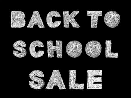 Handwritten white bold chalk lettering back to school sale text on black background, hand-drawn chalk phrase, back to school concept, stock photo image