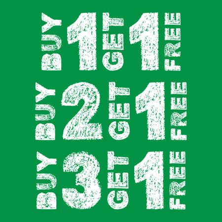 Handwritten white bold chalk lettering buy 3 get 1 free, buy 2 get 1 free, buy 1 get 1 free text on green background, hand-drawn chalk phrase for back to school concept sale, stock vector illustration