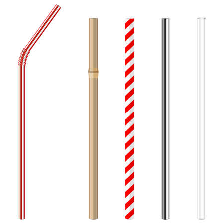 modern reusable glass, steel, paper and bamboo drinking straws as alternative replacement for classic disposable plastic drinking straw, isolated objects on white background, stock vector illustration Reklamní fotografie - 103753512