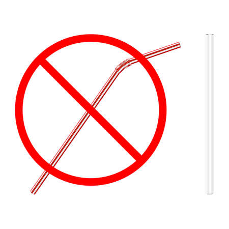 refusal of disposable plastic drinking straw in favor of reusable glass drinking straw, stop sign on white background, ban plastic drinking straw, stock vector illustration