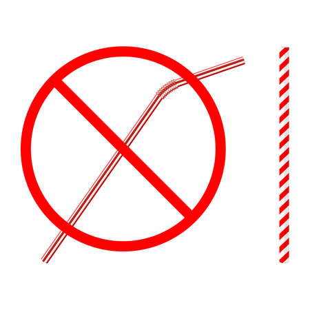 refusal of disposable plastic drinking straw in favor of reusable paper drinking straw, stop sign on white background, ban plastic drinking straw, stock vector illustration