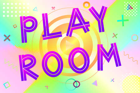 playroom text, colorful lettering in modern gradient on bright geometric pattern background, stock vector illustration
