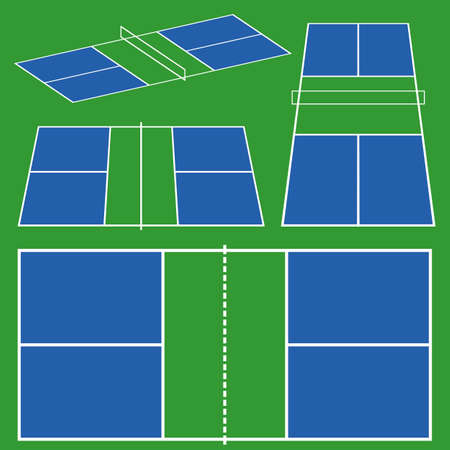 pickleball court game scheme. different perspective top, side, isometric view in flat line color. stock vector illustration