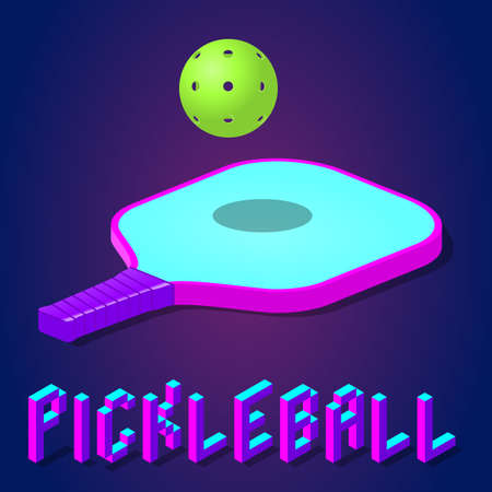 racket or paddle and ball for pickleball game in modern bright color. isometric icon, logo or label clipart. stock vector illustration 向量圖像