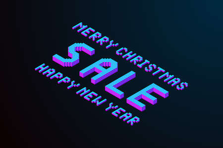 merry christmas and happy new year 2019 sale lettering. pixel isometric text element for design in modern color. stock vector illustration