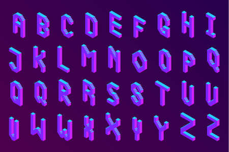 bold colorful isometric pixel 3d font. modern bright uppercase geometric alphabet letters set. stock vector illustration clipart