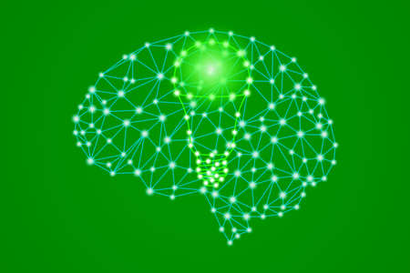 green led light bulb sign in polygonal low poly plexus human head brain, smart eco bio innovation idea thinking concept, stock vector illustration clip art