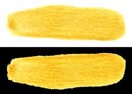 yellow gold colored doodle smear stroke isolated on black and white backgrounds. hand-drawn golden acrylic doodle brush, stock photo illustration