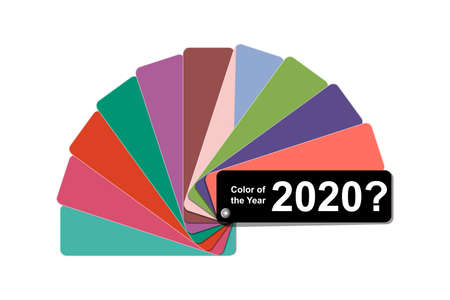 what color of the year 2020 concept, trend color palette sample  book guide,  vector illustration clip art template isolated on white background