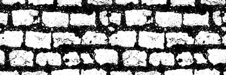 seamless black white brick wall horizontal pattern background, stock vector illustration clip art backdrop