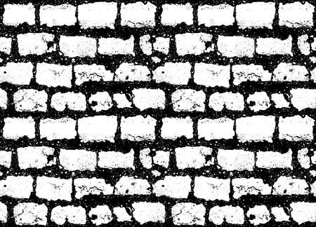 seamless grunge black white brick wall pattern background, stock vector illustration clip art backdrop
